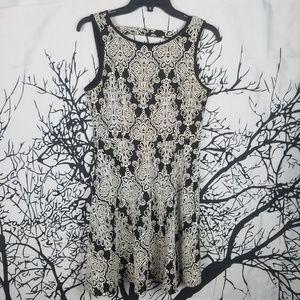 monteau | Black & White Sleeveless Dress  large